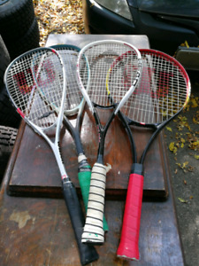 4 Squash Rackets with case