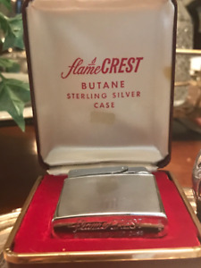 Antique STERLING SILVER (like Zippo) Lighter with Original Box