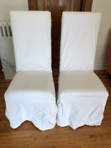 CHAIRS FOR DINIGN ROOM- SET OF 6 WITH SLIP COVERS
