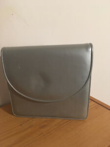 BROWN'S leather grey silver purse - bourse cuir argent gris