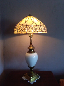 """32"""" Stiffel antique lamp lampe with glass tiffany style shade"""