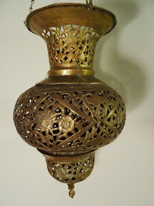 antique MOROCCAN HANGING LANTERN pierced filigree brass PERSIAN Kitchener / Waterloo Kitchener Area image 8