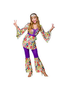 Adult-Hippie-Chick-Fancy-Dress-60s-70s-Hippy-Costume-Ladies-BN