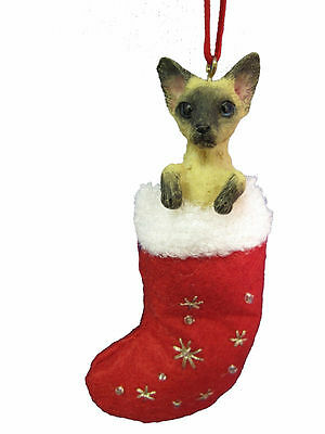 Siamese Cat Santa's Little Pals Dog Christmas Ornament