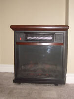 infrared room heater and electric fireplace with remote,