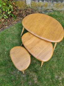 Original Ercol Vintage Nesting Pebble tables (elm wood)
