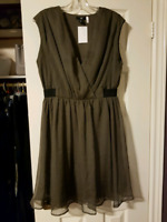 H&M olive green dress size 14