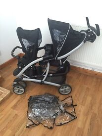 Graco double pushchair with rain cover