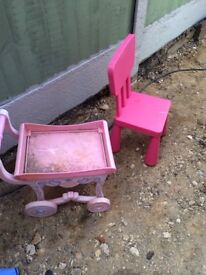 Ikea pink high back kids chair.indoor/outdoor and princess tea trolley brentwood £5