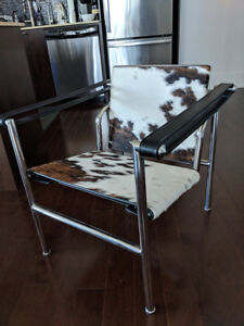 Modern brown cow hide pony chair