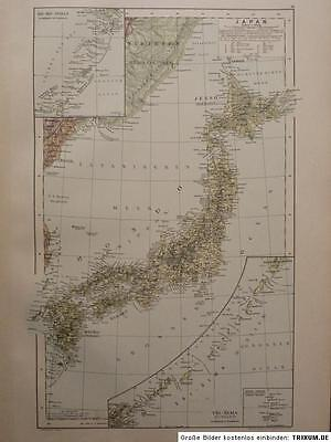 Landkarte von Japan, Kurilen, Riu-Kiu Inseln, Hartleben´s Verlag um 1890 Litho