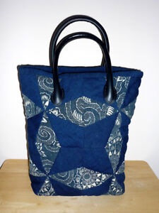 blue cloth padded cloth TOTE .. NEW ..