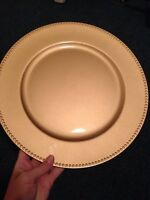 Gold charger plates for rent & card barrel