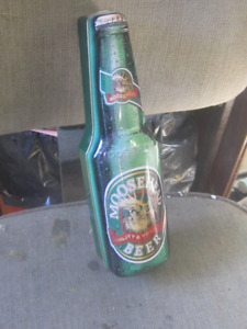 MOOSEHEAD BEER FIGURAL TIN BOTTLE CASE $10.00 BAR DECOR
