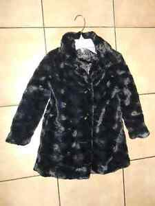 Girl's Black Faux Fur Coat (Size - 6-6X)