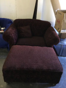 Beautiful Chair and a Half and Ottoman, Matching Cushion