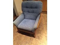 Pale blue cushioned wood Armchair