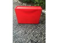 3 IKEA red stackable shoe boxes