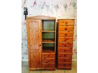 Children's pine wardrobe and chest of drawers