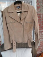 Beige-Light Brown Leather Jacket with Silk Lining