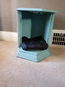 End table with pet bed