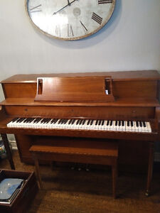 Lovely small upright piano and bench for sale
