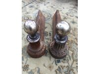 Antique brass and iron fire dogs / andirons.