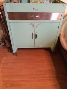 Vintage mint green medical cabinets on wheels
