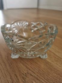 Vintage Crystal Heavy Cut Glass Bowl Small on Three Legs
