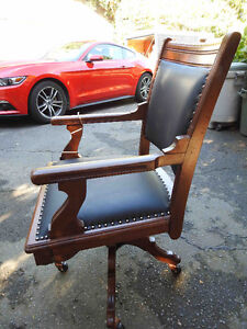 antique office chair new leathers seat and back