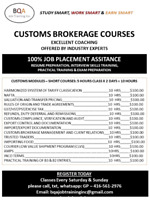 CUSTOMS COURSES - JOIN ANY DAY IN BRAMPTON