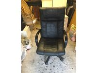 black leather office chair, nice condition no damage