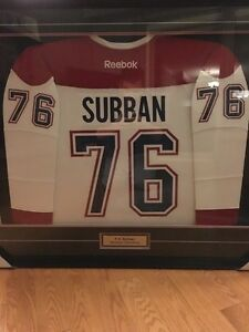 P.K. Subban signed and framed Montreal Canadiens jersey.