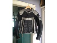 Hein Gericke leather motorcycle motorbike bike jacket Black/Silver XL