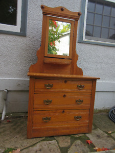 Charming Antique (c1920) Dresser with Mirror and Shelf