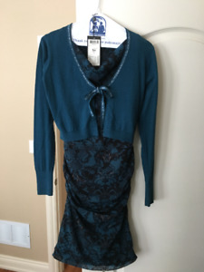 Brand new Mexx Lined Satin Dress in Olive Green & Black size XS