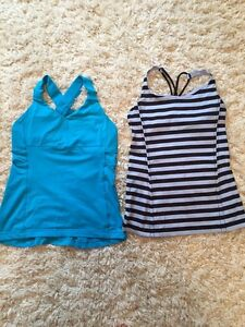 Two size 6 Lululemon workout tops!