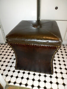 Snakeskin Leather Ottoman with Copper Accents
