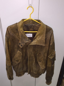 Manteau de cuir beige/brun pour homme - vintage