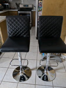 Leather bar stools - Black - Pair