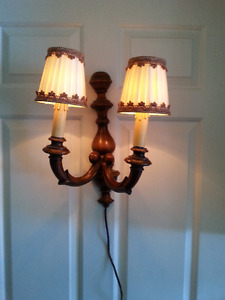 2 antique/vintage wall light fixtures with shades