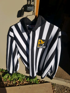 CCM adult XL reffing jersey. Manitoba and hockey canada badges