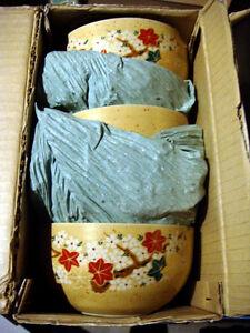 5 Bols Japonais, porcelaine solide