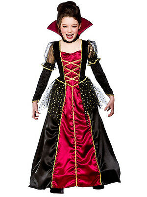 Girls Princess Vampira Vampiress Bride Of Dracula Halloween Fancy Dress Costume - Bride Of Dracula Halloween Costumes
