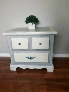 grey and white side / end table