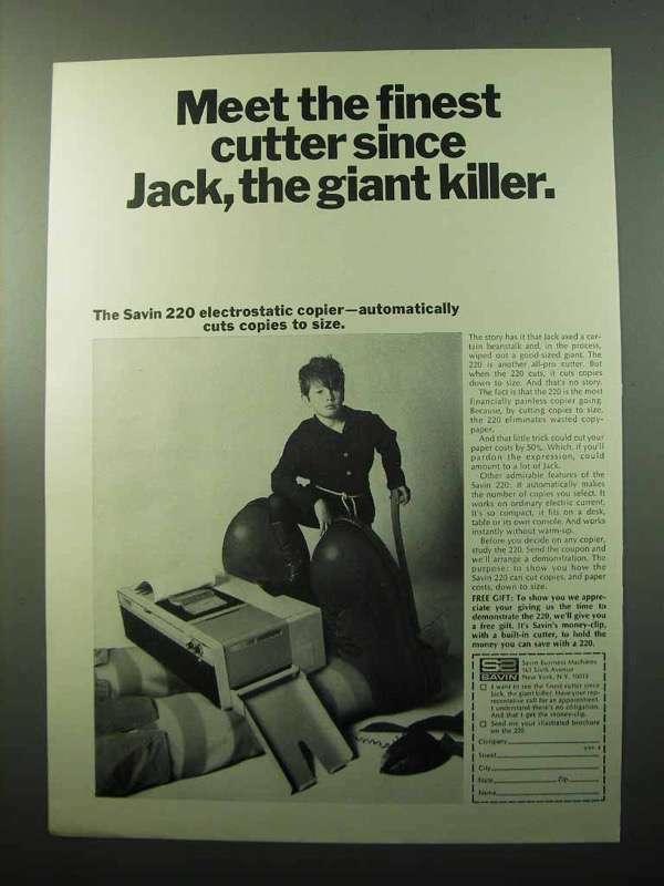 1969 Savin 220 Electrostatic Copier Ad - Finest