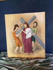 Hand carved Stations of the Cross