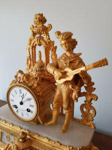 19th Century Gilt Metal French Mantle Clock.