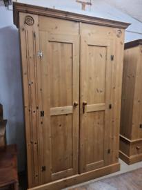 20th Century Solid Pine Two Door Wardrobe