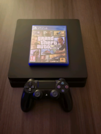 PS4 Slim 500GB + Grand Theft Auto 5 + Controller + All Cables
